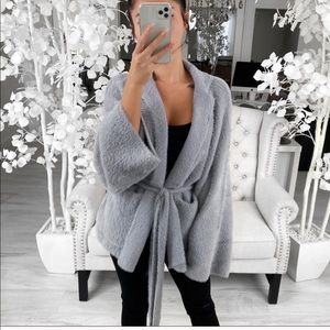 NWT EKATTIRE grey plush sweater M/L
